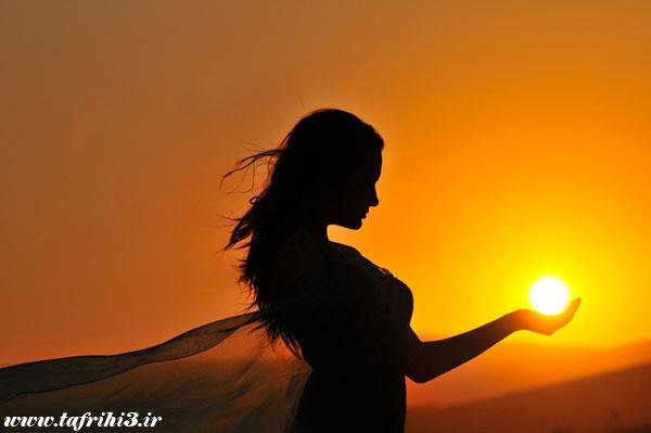 عکس های عاشقانه دختران در غروب آفتاب