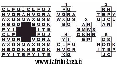 حروف بریده شده جدول را پیدا کنید! (تست هوش)
