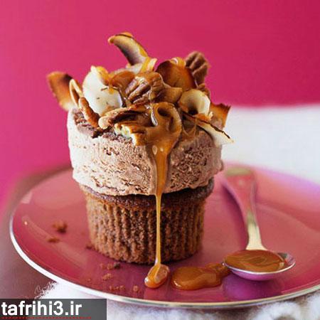 طرز تهیه کیک بستنی شکلاتی