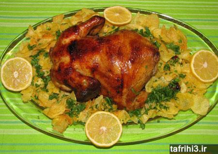 طرز تهیه مرغ شکم پر با طعم سیب