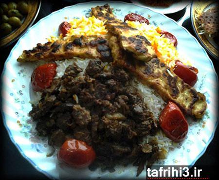 طرز تهیه پلو گوشت با کباب تابه ای مرغ