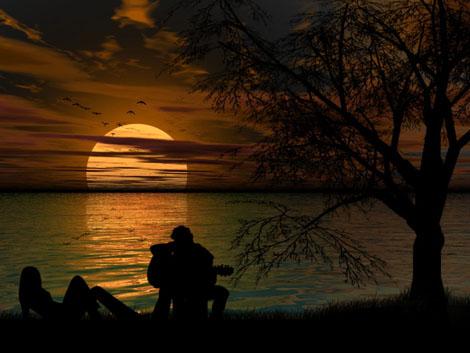 تک عکس عاشقانه از دختر و پسر در غروب آفتاب